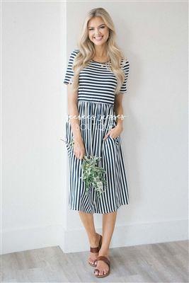 42795f2c678 White Navy Stripe Pocket Dress