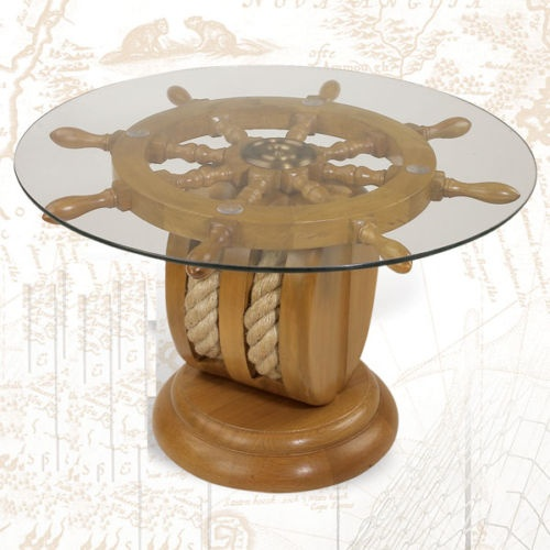 Ships Wheel End Table Nautical Furniture Shipwheel Boat Gift With Rope NEW