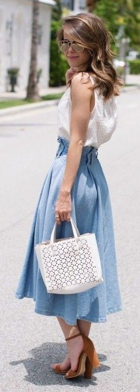#spring #summer #outfitideas | White Top +Midi Chambray Skirt |The Style Bungalow                                                                             Source
