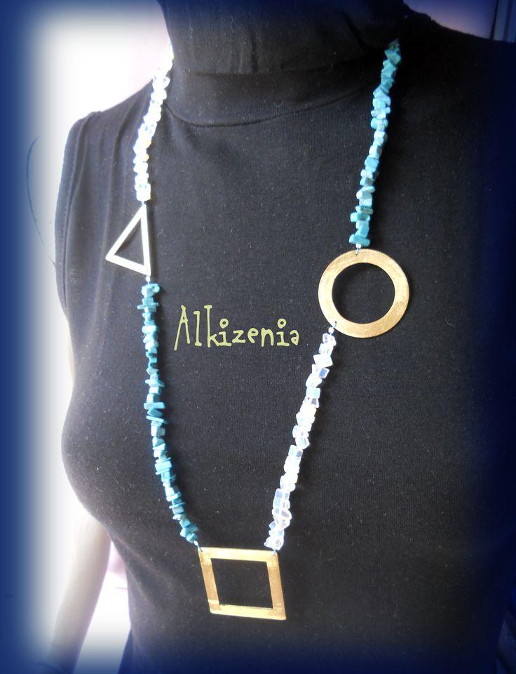 Handmade metal pieces and semiprecious stones
