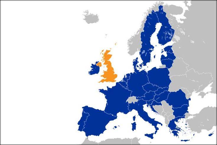 O Reino Unido (laranja) em relação aos demais países da União Europeia (azul)