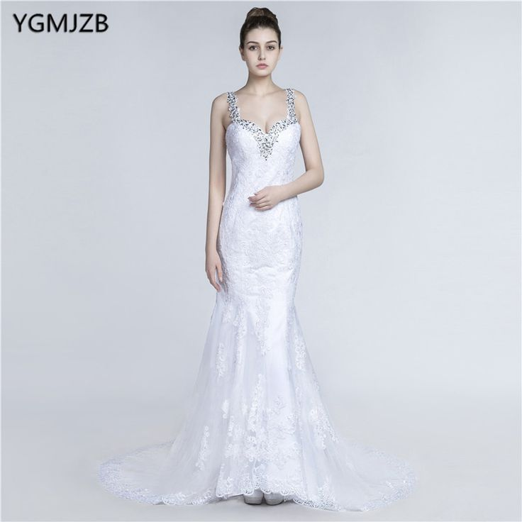 Find More Wedding Dresses Information about White Long Wedding Dress 2018 Mermaid Sweetheart Backless Appliques Lace Beaded Crystal Plus Size Wedding gown Vestido De Noiva,High Quality vestido de noiva,China vestido de noiva plus Suppliers, Cheap de noiva from Shop1404230 Store on Aliexpress.com