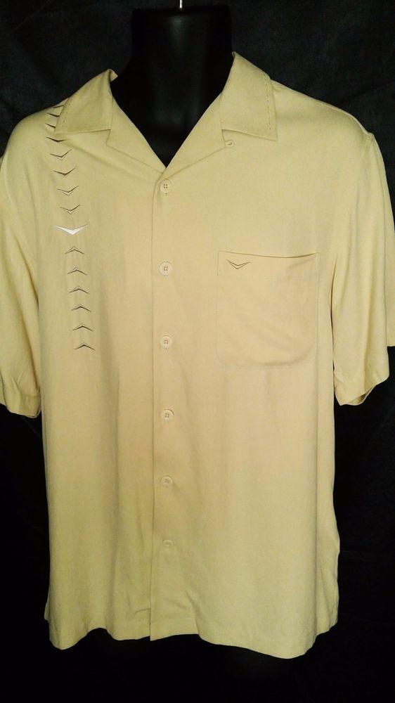 Nat Nast Luxury Originals Lounge Rockabilly Camp Men's Silk Chevron Shirt M #NatNast #ButtonFront