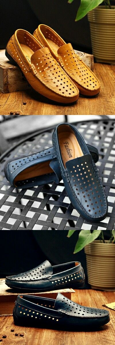 Mens loafers Luxury Brand Shoes Summer men casual shoes Breathable Good Leather Men Driving Shoes Hollow Out