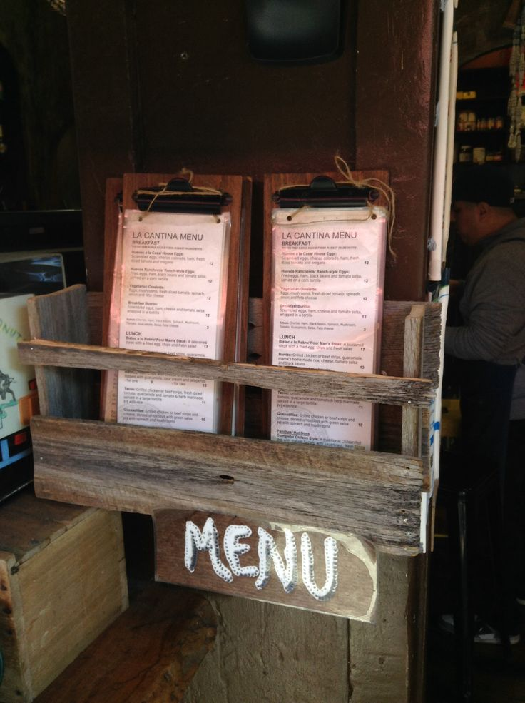 Menu rack rustic with reclaimed fence wood!