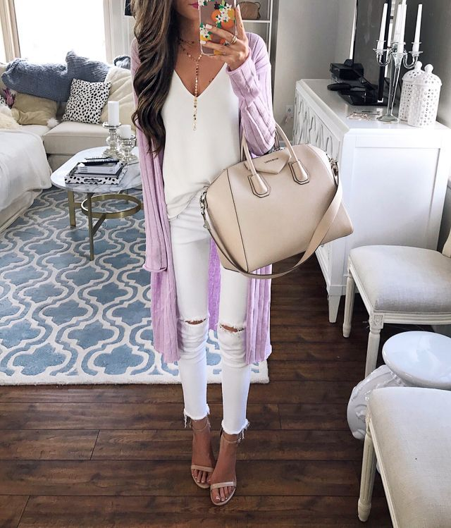 white on white outfit. love the free people cardigan