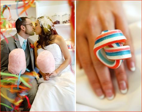Now that's my kind of WEDDING!! candy wedding theme, candy ringCandies Rings, Ribbons Candies, Cotton Candy, Candies Pictures, Wedding'S Ideas, Candy Bouquet, Rock, Cotton Candies, Candies Favors