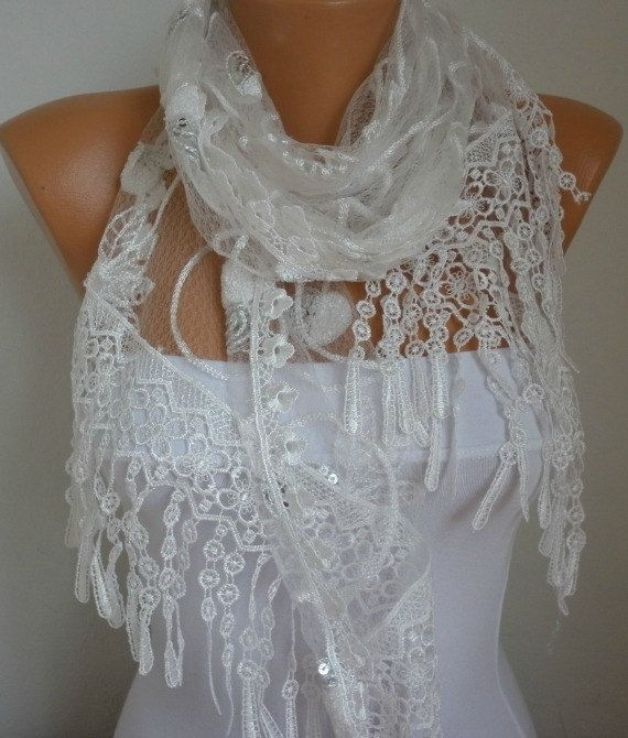Lace Scarf   scarf shawl    Free scarf  White  fatwoman by anils, $25.00