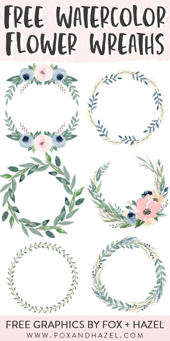 20 Free Beautiful Watercolor Flower Wreaths   Fox + Hazel ...