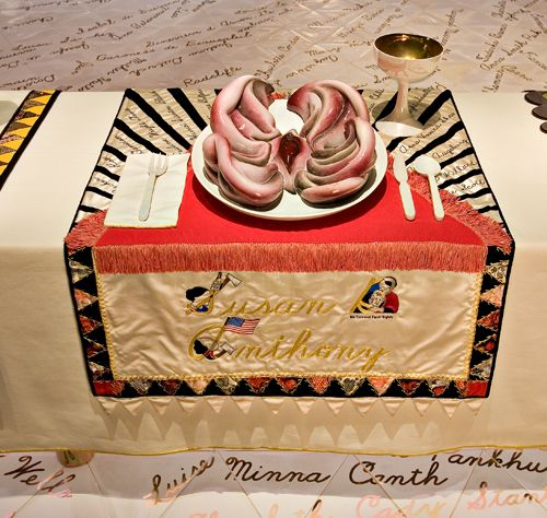 On permanent display at the Elizabeth A. Sackler Center for Feminist Art (Brooklyn Museum): The Dinner Party by Judy Chicago