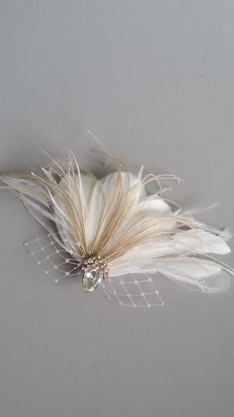 Bridal Fascinator Wedding Head Piece Feather by PowderBlueBijoux