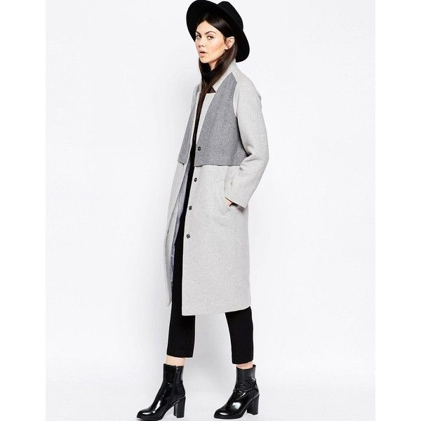 ASOS Coat in Cocoon Fit with Panel Detail (1.362.540 VND) ❤ liked on Polyvore featuring outerwear, coats, grey, cocoon coat, slouchy coat, boyfriend coat, gray cocoon coat and tall coats
