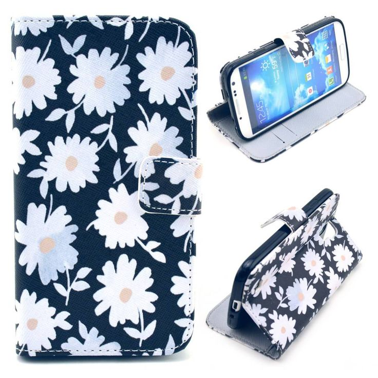 Chrysanthemum bloemen bookcase voor Samsung Galaxy S4