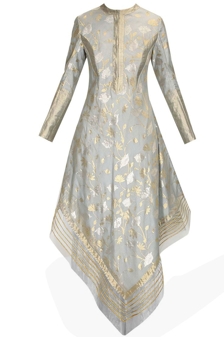Powder blue hand woven kamal jaal assymetric dress kurta available only at Pernia's Pop Up Shop.