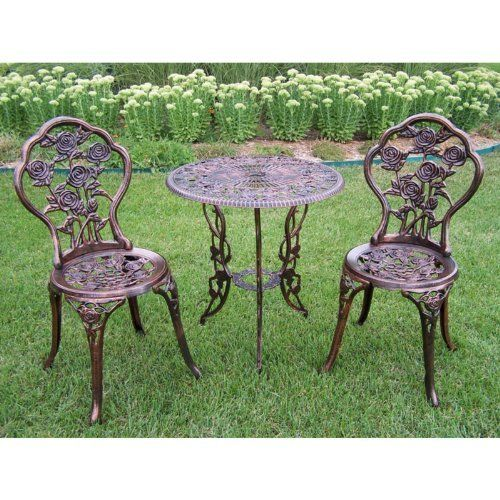 Add Beauty And Style To Any Outdoor Patio Garden Setting With This Durable  And Functional Oakland Living Rose Patio Bistro Table Set.