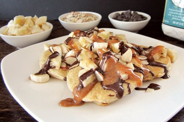 Chunky Monkey Pancakes Recipe - Banana + Nut Butter Maple + Chocolate | Go Dairy Free: Monkey Pancakes, Dairy Free Recipes, Gluten Free Pancakes, Chunky Monkey, Breakfast Food, Almond Drizzle, Chocolate Sauce, Breakfast Recipes