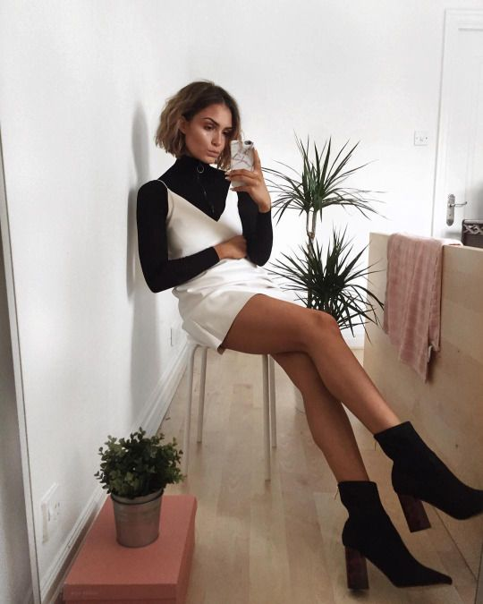 Aesthete Label love - black turtleneck and white camisole dress