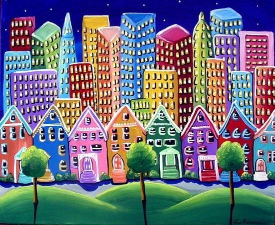Colorful Funky Cityscape Fun Whimsical Folk Art Original Painting