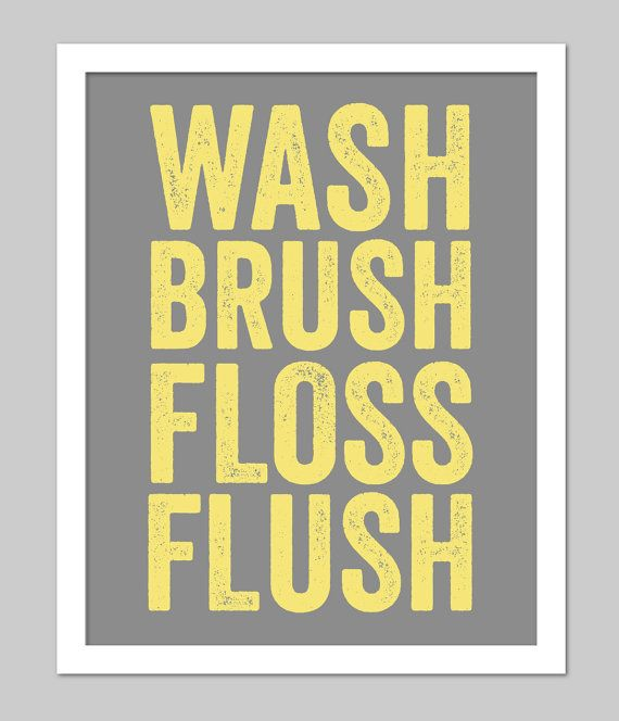 "Yellow and Grey Bathroom Subway Art for Bath Wash Flush Brush Bathroom Rules - Subway Art Bathroom Print - 8""x10"" Art Poster Print"