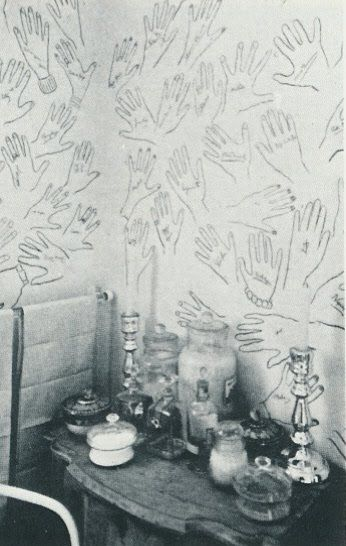 Cecil Beaton. He asked guests to draw round their hand and sign it afterwards, in his bathroom, Ashcombe House//