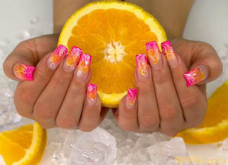 neon nails with fruits