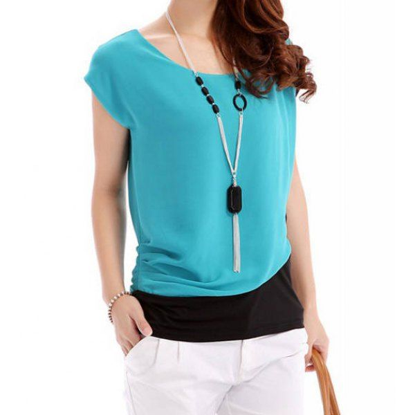 Simple Design Women's Scoop Neck Color Block Short Sleeve Chiffon Blouse