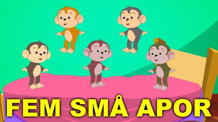 Barnsånger på svenska | Fem små apor hoppade i sängen med mera