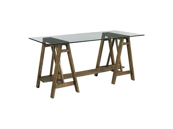 A Rustic yet Modern Office, the Drexel Heritage Home Office Postcards Desk from Goods Home Furnishings