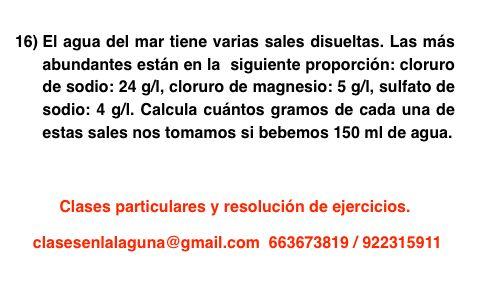 Ejercicio 16 propuesto de Concentración de disoluciones: gramo / litro