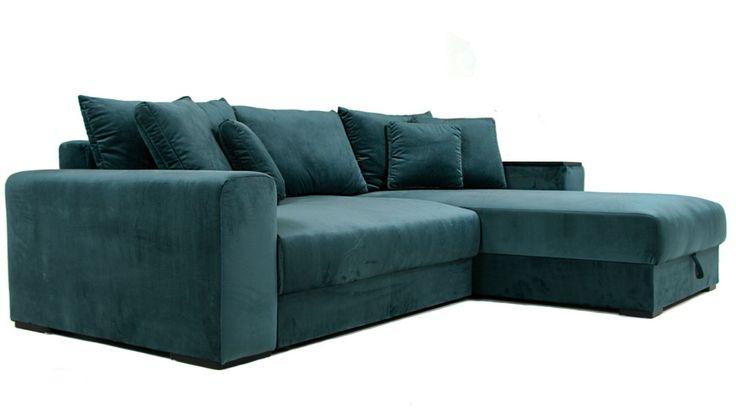 Grön Björnen bäddsoffa, sammet, sammetssoffa, bädd, kuddar, sammetskuddar, möbler, vardagsrum, inredning