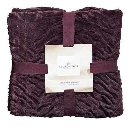 Maison d'Or Throw Chevron Fur Plum - Cushions & Throws - Living Room - Homewares - The Warehouse