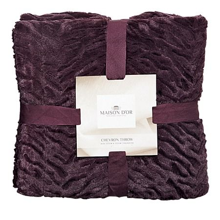 Maison d'Or Throw Chevron Fur Plum - Cushions & Throws - Living Room - Homewares - The Warehouse