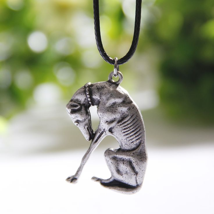 Thinking Statue Greyhound Necklace Dog Lover Necklaces & Pendants Silver Necklace Both Sides Charm Women Pendant Christmas Gift