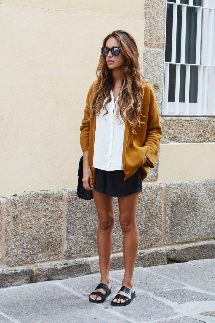 loose blazer+ drapey top + relaxed shorts | stellawantstodie