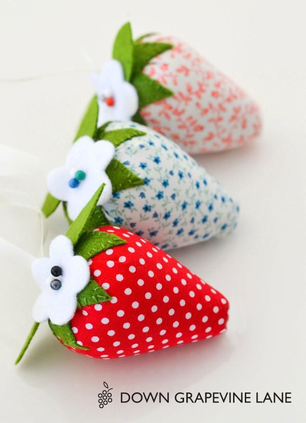 """Strawberry pincushion. Links to pattern and instructions. Other pinner says: """"I love using ground walnut shells to stuff my pincushions. You get a nice shape and they're a bit heavy so they stay put! You can find ground walnut shells in the reptile bedding department of a pet store."""""""