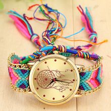 Vintage Women Geneva Watch Native Handmade Quartz Watch Knitted Dreamcatcher Friendship Watch relojes mujer 2015 BWSB1468(China (Mainland))