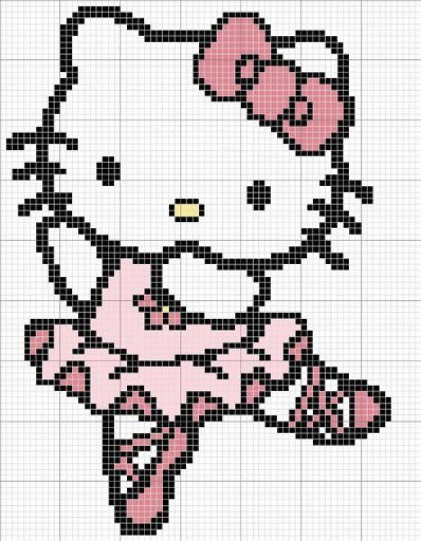 Free Ballet Hello Kitty Cross Stitch Chart or Hama Perler Bead Pattern