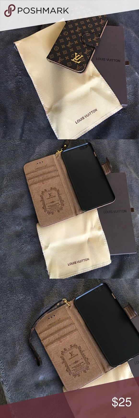 Wristlet iPhone 6 Plus or 6s plus case Designer inspired iPhone 6plus or 6s plus phone case wristlet with three credit card holders and a side pocket for receipts, miscellaneous etc...brand new never used comes with dust bag and box. Price firm. No trades.  There is a slight discoloration I took a picture of that is in the faux leather it was bought that way. I reflect that in the price. Accessories Phone Cases