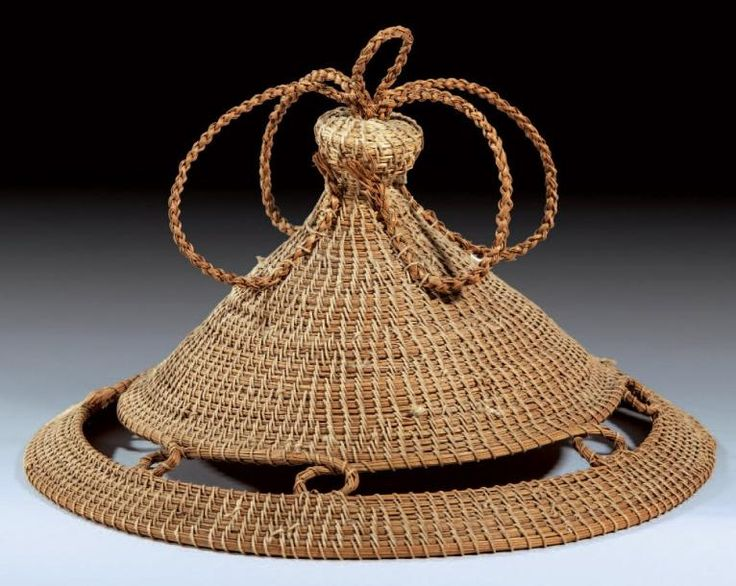 Africa | Hat ~ 'Khaebana' ~ from the Sotho people of Lesotho | Natural raffia.