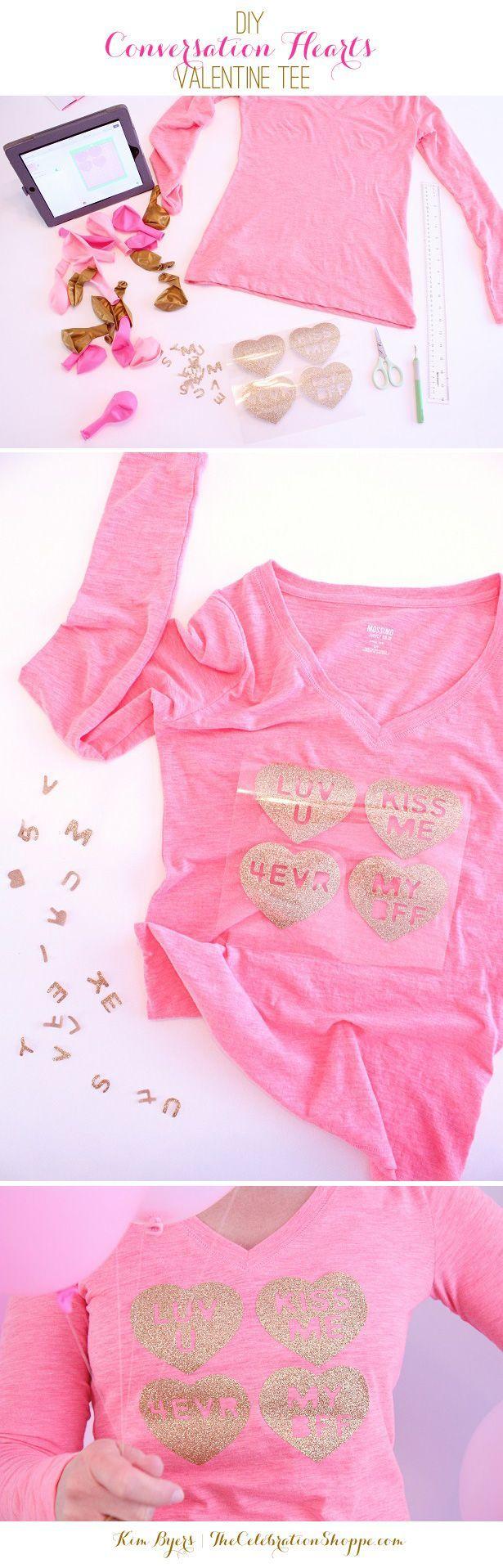 DIY Valentine Conversation Heart Tee - Step by Step How to: Valentine's Day T-Shirt Tutorial