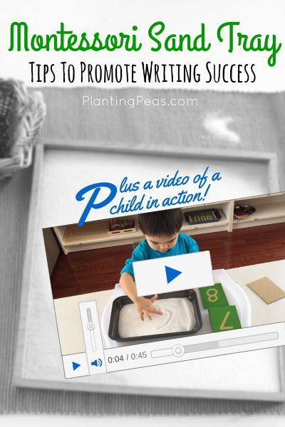 Montessori Sand Tray - Tips to promote writing success {PlantingPeas.com}