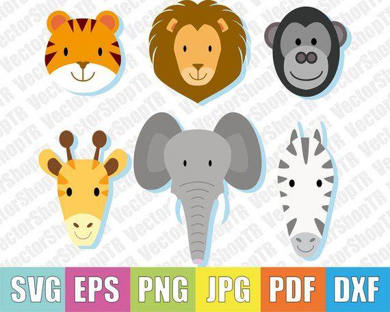 Animal heads , tiger, elephant, zebra, monkey, giraffe 6pcs svg, png, pdf, jpg, eps, dxf, t-shirt, clipart