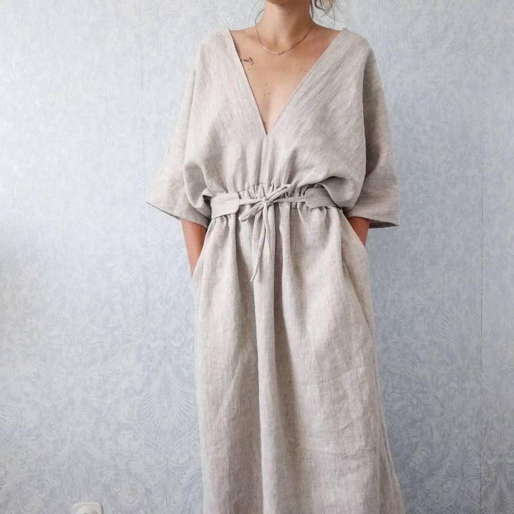 Evangeline kimono style linen dress