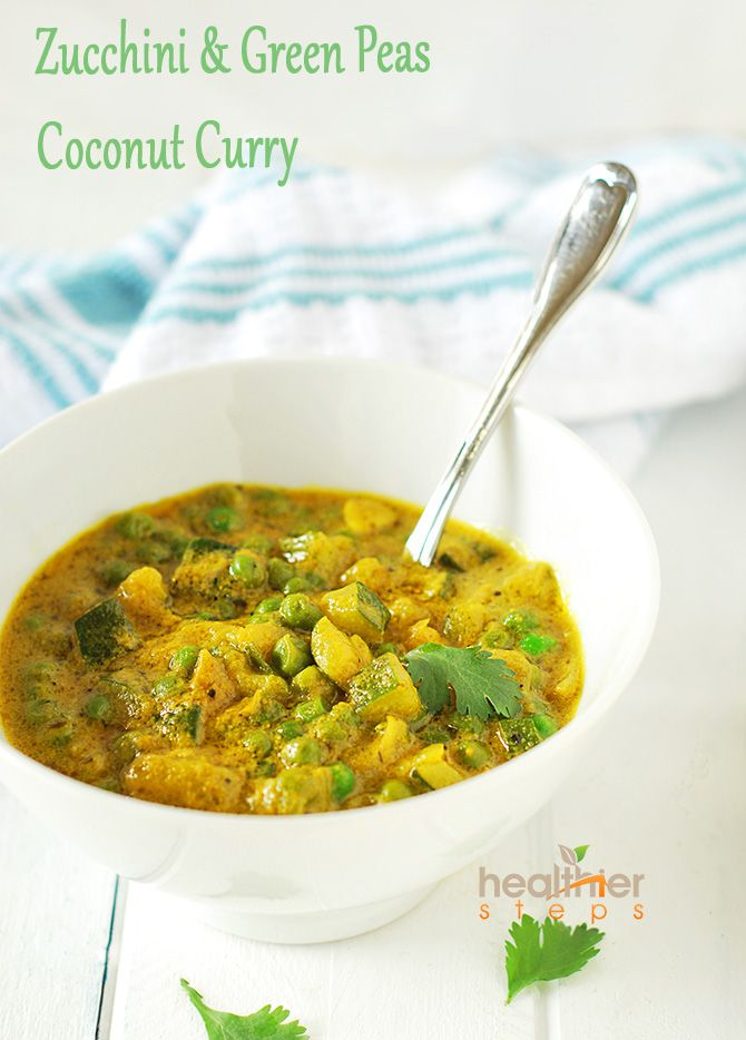 Delicious zucchini and green peas coconut curry dish that is quick and easy to make.