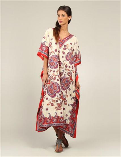 Printed Red and White Long Kaftan