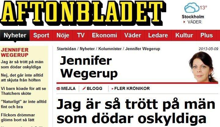 En kvinna kan döda oskyldiga också, det är inte ett undantag. Jennifer Wegerup @aftonbladet #debatt #femdeb #brott
