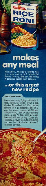 Arroz Con Pollo (Chicken And Rice). Lucy Ricardo used to make this for Ricky. No Rice-A-Roni, though. (Woman's Day, 1967)
