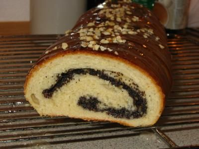 German Poppy Seed Roll: This is a cake that I remember from my childhood in Germany.  Dough: Mix 25g fresh yeast with 3 tbsp Sugar and let it stand until liquid. Add 150 ml milk,