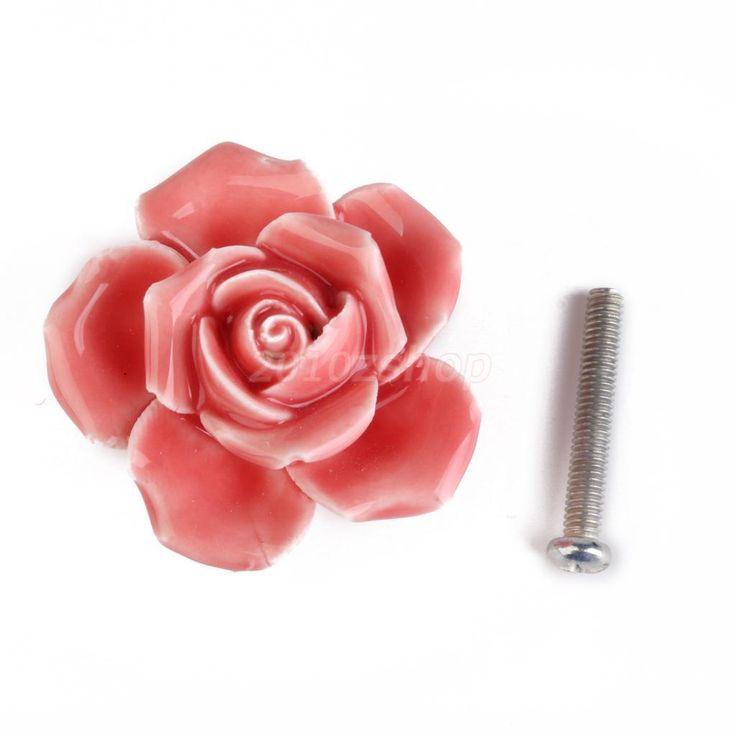Pomello Fiore Rosa In Ceramica Maniglie Mobili Cassetti Decorazioni - Rosa   eBay