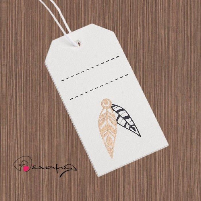 Ξύλινη διακοσμητική ετικέτα φτερά ινδιάνου